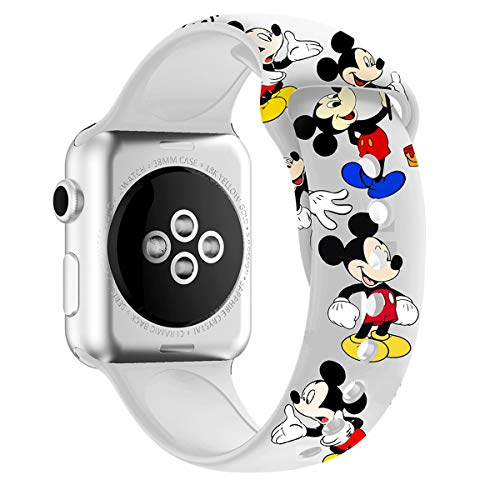 MIADEAL Mickey & Minnie Mouse Bands for Apple Watch, Fit All iWatch Series, 38mm/40mm/42mm/44mm (White 2, 42mm or 44mm)