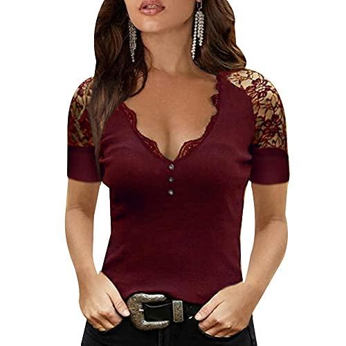 YANGPP Camisetas Manga Corta Mujer Camiseta De Encaje Cuello En V Camiseta Básica Suelta-Vino Rojo_L