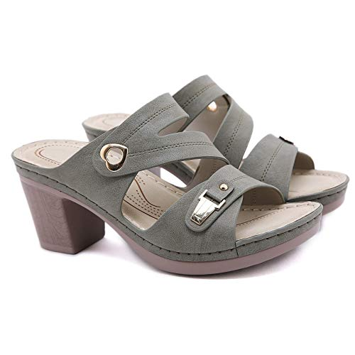 Zapatillas de Tacón Alto Sandalias sin Cordones para Mujer Sandalias de Plataforma Cómodas Sandalias de Tacón Alto con Tacón en Pendiente de Playa