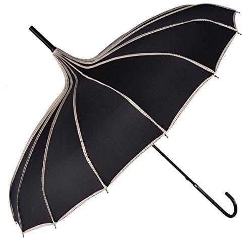 Fansport Pagoden Regenschirm Sonnenschirm Regenschirm Vintage Travel Stick Regenschirm mit Hakengriff