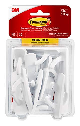 Command Medium Utility Hooks Mega Pack, White, 20-Hooks, 24-Strips, Organize Damage-Free