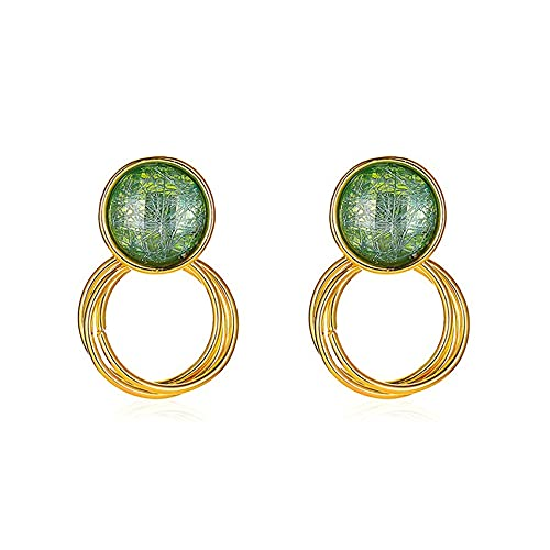 WEFH Pendientes Circulares Multicapa cepillados de Cristal geométrico de Temperamento Coreano, Verde