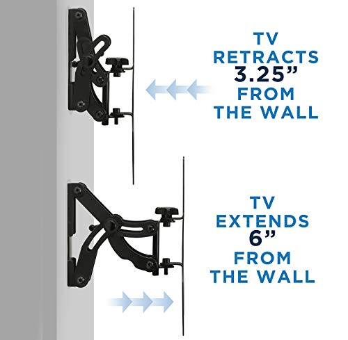 """Mount-It! MI-601 Full-Motion Tilting, Swiveling, Articulating LCD TV Wall Mount Bracket with Extendable Swing Out Arm for 23"""" to 42"""" Flat Screen Panel LCD LED Plasma 4K TV Displays,66 lb Capacity"""
