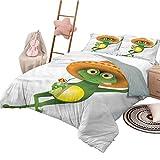 Juego de edredón para niños, tamaño King, Dibujos Animados, Divertidos Dibujos Animados para Dormir, Rana en un Sombrero Mexicano