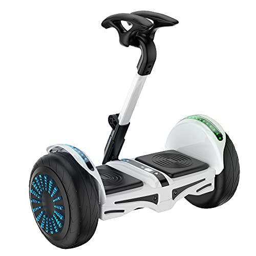 Smart Self Balancing Electric Scooter, Bluetooth APP Management Scooter Electric with LED Lights, Sport Mode and Easier to Ride, Electric Scooter for All People (Safety Upgrade) (White)