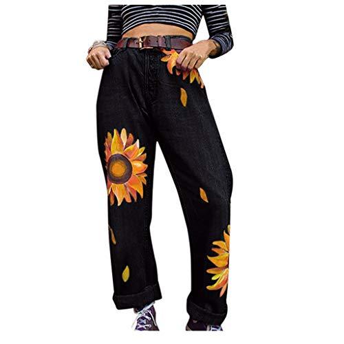 Hffan Womens Casual Tight High Elasticity Sunflower Print Length Jeans High Waisted Button Zipper Denim Jeans