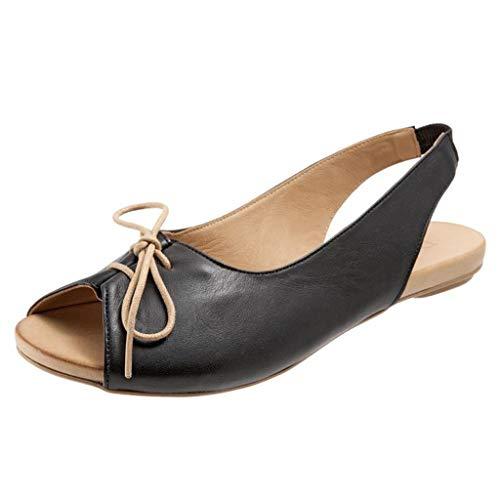 Damen flach Sandalen Sommer Boho Strandschuhe Schnalle Roma Schuhe Fischmaul Schuhe Leder Peep Toe Shoes schwarz Weiß Rot