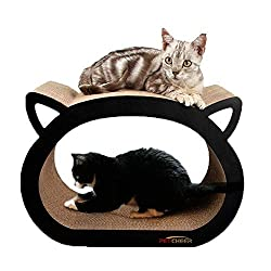 Two cats lounging on a cat scratcher