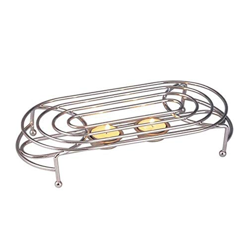 Glow Stylish Food Warmer – Chrome Stand with 2 Tea Light Candles to Keep Dish Plate Bowl Casserole Soup Fondue Hot – Ideal for Buffet Catering Restaurant Dinner Wedding Christmas Family Dinner Party
