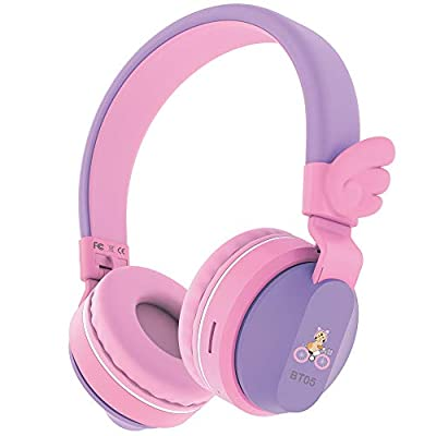 Headphones, Riwbox BT05 Wings Kids Headphones Wireless Bluetooth Over Ear 85dB/103db Volume Control Children Foldable Headphones with Mic/TF Card Compatible with Tablet/Smartphone/School (Purple&Pink) by Riwbox