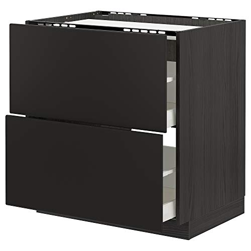 METOD/Maxim bas hytt f häll/2 fronter/2 lådor 80 x 61 x 88 cm svart/Kungsbacka antracit