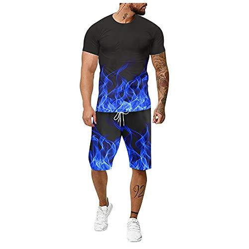DAY8 Herren Jogginganzug Sportanzug Männer 3D Drucken Trainingsanzug Fitness Sporthose T Shirt +Short, Gym Tracksuit Outfit Sport Set Jumpsuit für Sommer Kurze Hose Kurzarm Top kurz Fitness Top Hosen