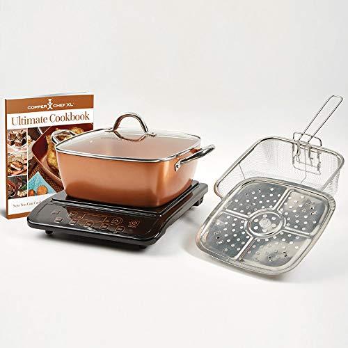 Copper Chef 853 Casserole & Induction 5 pc Set & Induction Cooktop, 5 Piece, Casserole 5pc Set with Black Induction Cooker