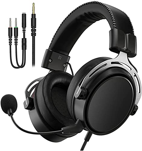 Gaming Headset für PS5 PS4 PC Xbox One Switch Mac, Gaming Kopfhörer mit 3,5 mm Klinke, Kopfhörer mit Noise Cancelling Mikrofon, Metall Material