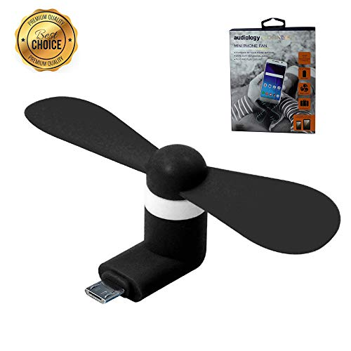 Audiology Portable USB Phone Fan with Micro USB for Cell Phone Samsung Android Smartphones Galaxy S6/Galaxy S7 and Edge/HTC One X/Nokia 5230