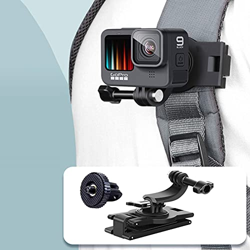 VKESEN Rucksack Halterung 360 Grad Rotations Einstellbar Winkel Rucksack Klemme Clip Halter Halterungrucksack für GoPro Hero 9, 8, 7, Insta360, DJI Osmo Action und Anderen Action-Kameras