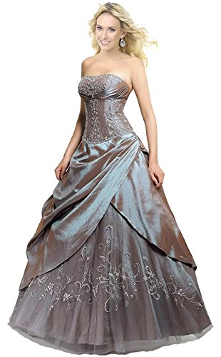 FairOnly M201 Frauen trägerlosen Abendkleid Formal Silber Ball Kleid (M)