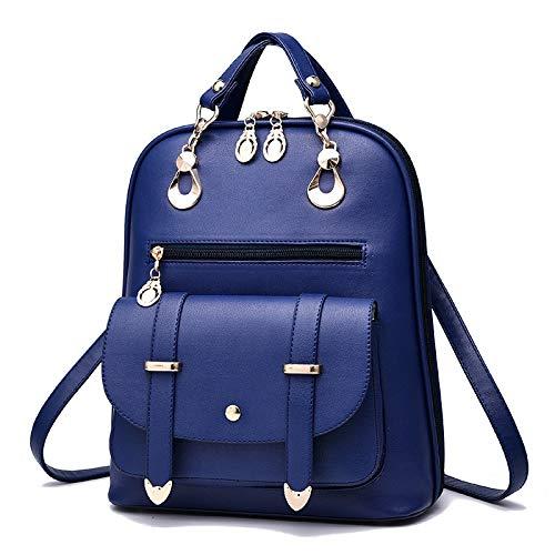 IN THE DISTANCE Mochila De Las Mujeres For El Estilo De La Escuela Bolso De Cuero For La Universidad Diseño Simple Mujeres Daypacks Ocasionales Mochila Mujer Famosa (Color : Blue)