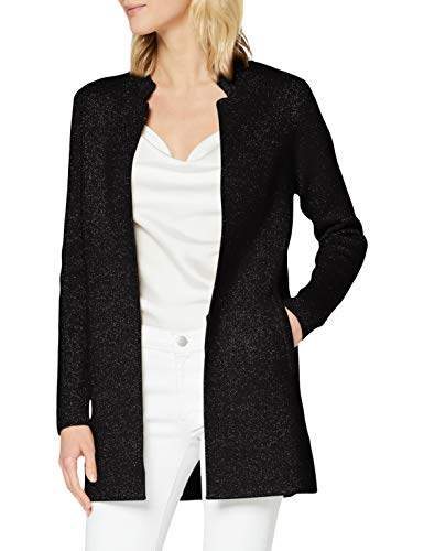 Morgan Gilet Long Tricot Lurex Mboli Chaleco suéter, Noir, TXS para Mujer