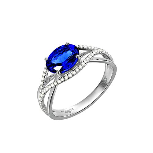 AmDxD oro blanco 18 quilates (750) oval-shape Blue White Tanzanite