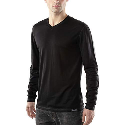 Woolly Clothing Men's Merino Wool V-Neck Long Sleeve Shirt - Ultralight - Wicking Breathable Anti-Odor S BLK