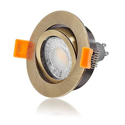 Ledox Led Einbaustrahler Set dimmbar & schwenkbar inkl. Einbaurahmen Forma Bronze Messing 230V 7W GU10 3000k warmweiß - 60° Abstrahlwinkel - 550 Lumen - 50 Watt Ersatz (10er Set)