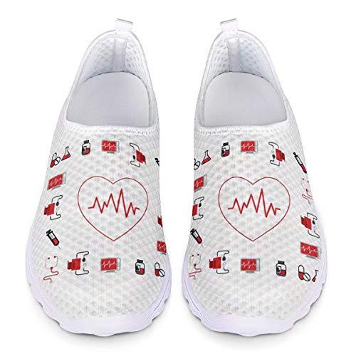 Chaqlin Zapatillas Deportivas Zapatillas de Deporte Lindas de la Enfermera para Las Mujeres Señoras Casuales Jardín Caminando Footing Calzado Vacaciones Playa Zapatos de Agua Blanco 43 UE