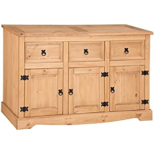 Customer reviews Mercers Furniture Corona 3-Door 3-Drawer Sideboard, Wood, Antique Pine, Large