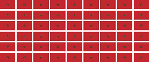 Mini Aufkleber Set - Pack glatt - 20x12mm - Sticker - Marokko - Flagge - Banner - Standarte fürs Auto, Büro, zu Hause & die Schule - 54 Stück