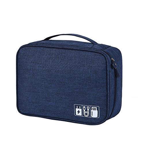 Electronics Travel Organizer Cable Cord Bag Universal Accessories Storage Bagfor Cables, Charger, Power Bank, USB, SD Card, Navy