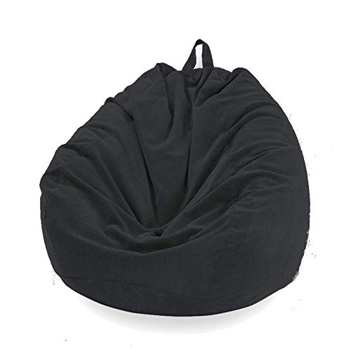 Sitzsackbezug in Birnenform, ohne Füllung, Bezug für Sofa, Sitzsack, Liegestuhl, Sitzsack, Beutel für Erwachsene und Kinder, Zubehör für Möbel (schwarz, L)