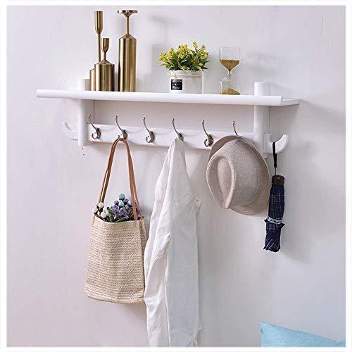 3-6 Haken Kleiderhaken Wandgarderobe mit 1 Öffnen Abstellflächen Kleiderhaken Weiß Wandbehang Lagerung Regal Wandschrank in Badezimmer Flur Zimmer Regale und Regale ( Color : White , Size : 6 Hooks )