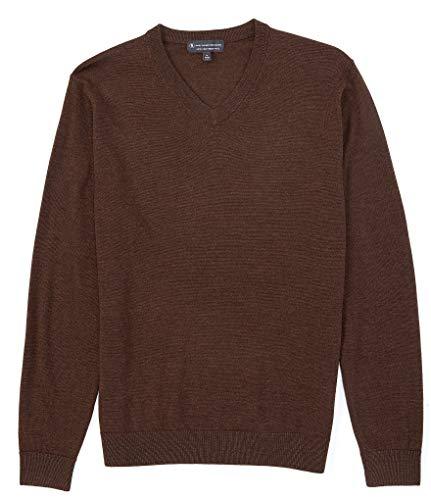 Hart Schaffner Marx Men's Big Tall Luxurious 100% Extra Fine Merino Wool V-Neck Sweater (Dk Brown, X-Large Tall)