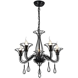 Customer reviews Wrought Iron Geometric Chandelier Postmodern Industrial Metal Rustic Black Cage Shade Pendant Light Vintage Hanging Light Fixture For Kitchen Island Dining Table Bedroom Hallway (Bulb Not Included):Eventmanager
