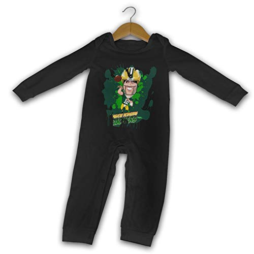 MichaelFrance Aaron Rodgers Baby Gifts Boy Girl Cotton Long Sleeve Bodysuit 18 Months Black