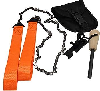 ELIKVAP Pierre a feu kit de Survie + Chaines scie a Main découpe Bois - Allume feu pour Campeur - matériel de Survie.