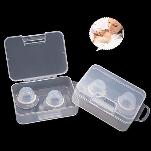 Welnove Niplette Lot de 4 ventouses invisibles pour correcteur plat et inversé - Fabriqué en silicone de qualité alimentaire - 100% silicone (loquet de téton avec étui portable)