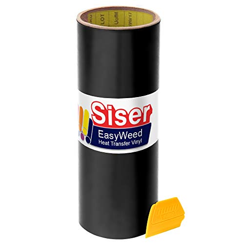 Siser Easyweed Black Heat Transfer Craft Vinyl 5ft x 15' Roll Including Hard Yellow Detailer Squeegee
