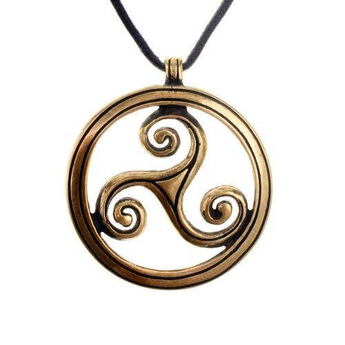 Keltisches Amulett mit dem historischen Motiv der Triskele Farbe messingfarben