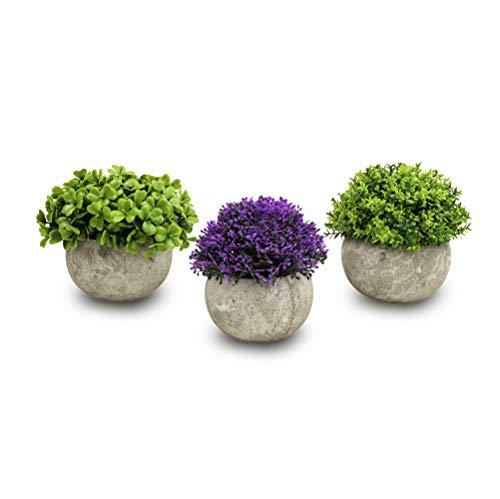 BonDecor Künstliche Pflanzen 3er Set – kleine Kunstpflanzen mit Töpfen in stilvoller Beton-Optik als Deko für Küche, Wohnzimmer, Büro, Badezimmer, Schlafzimmer, Gastronomie, Geschenk