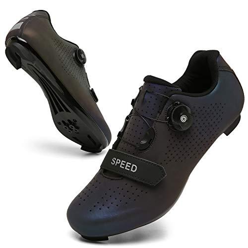 SANYES Men's Cycling Shoes Breathable Road Bike Mountain Bike SPD/SPD-SL Compatible Peloton Bike Indoor Spin Shoes SYQXX-XKMagiccolor-47