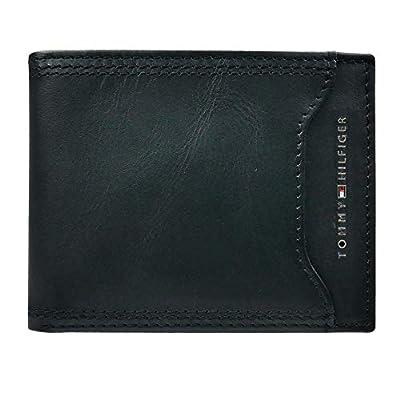 Tommy Hilfiger Men's Leather Wallet - Bifold Trifold Hybrid Flip Pocket, black Hue, One Size
