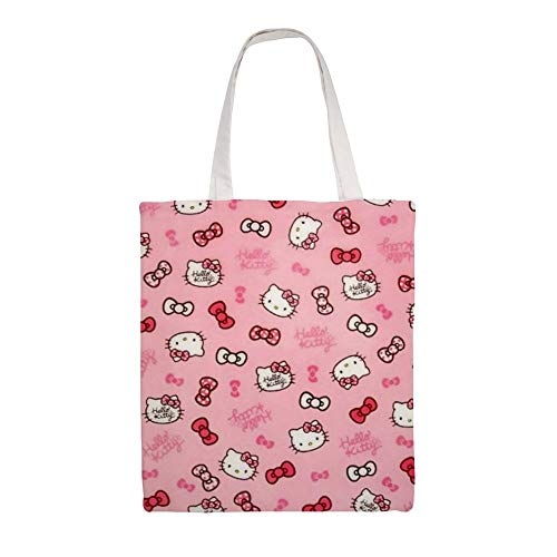 Cotton Canvas Tote Bag Hello Kitty Shoulder Grocery Shopping Bags Cloth Shopping Bag