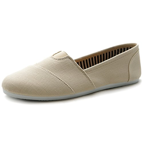 Ollio Women Shoe Slip on Sneaker Canvas Flats 1ML031(7.5 B(M) US, Beige)