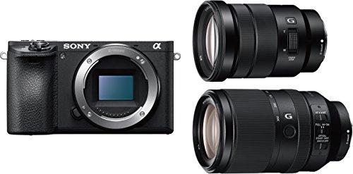 Sony Alpha 6500 APS-C E-Mount Systemkamera (24,2 Megapixel, 7,5 cm (3 Zoll) Touch Display, 5 Achsen-Bildstabilisierung, XGA OLED Sucher, 4K) inkl. SEL-P18105G und SEL-70300G Objektiv schwarz