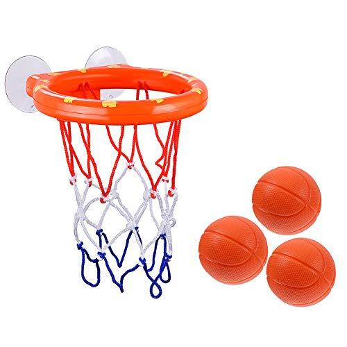 Baby-Bade-Spielzeug für Kinder, Basketballkorb und Bälle, lustige Bälle in der Badewanne, Dusche oder in der Badewanne, Schießspiel für Kleinkinder, Mädchen Reifen mit Saugnäpfen, 3 Mini-Basketball