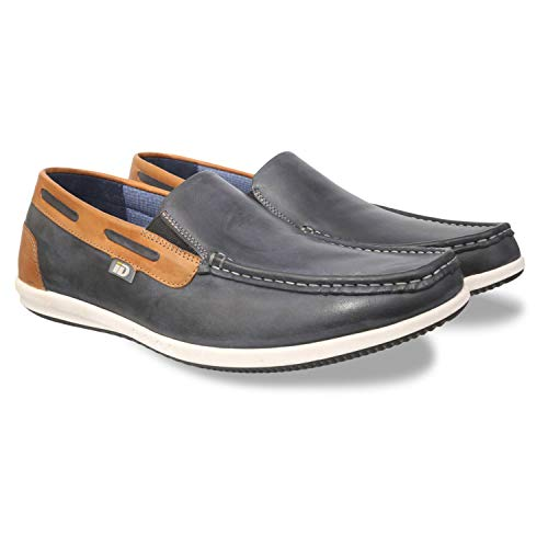ID Men's Genuine Leather Casual Shoes (Blue)