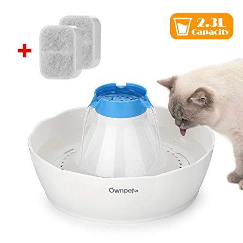 OWNPETS Pet Drinking Fountain,2.3L or 0.6 Gallon Quiet Automatic Eletrinic Water Fountain for Cat and Dog (2.3L/0.6Gal Fountain)