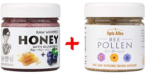 【Amazon.co.jp限定】 プレミアム ビーポーレン(花粉)100g&はちみつセット(ブルーベリーハニー200g) Raw Honey Blueberry 200g & Premium Raw Bee Pollen 100g