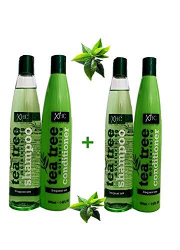 2 Shampoings + 2 Après Shampoings Hydratant et Revitalisant 400 ML - Anti Pelliculaire - Huile de Tea Tree ou Arbre à Thé + Menthe Poivrée - Tea Tree Moisturising and Conditioner Shampoo